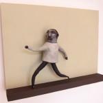 2012, polymer clay, acrylic paint, aluminum foil, wood